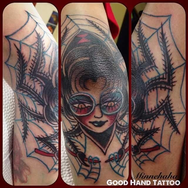 Lastly, here's my work on my friend Paul. Blasted his elbow with the Mother Spider---the Homemaker. :-) Done at Good Hand Tattoo.