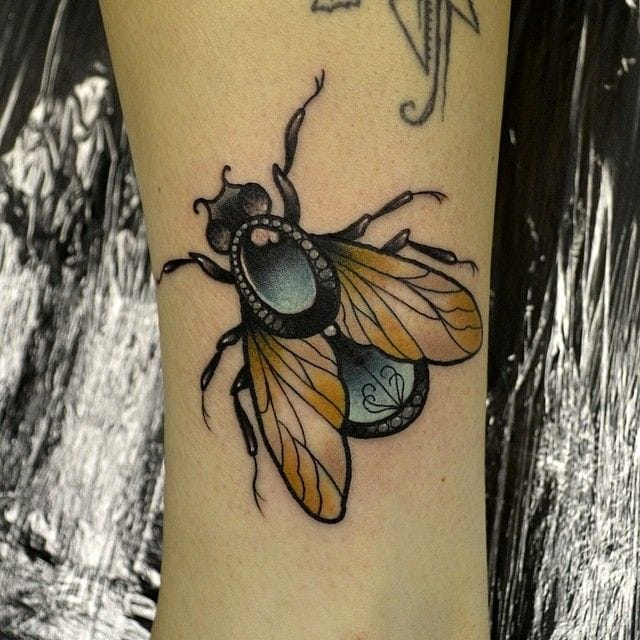 Bejeweled fly by Daryl Watson Tattoo
