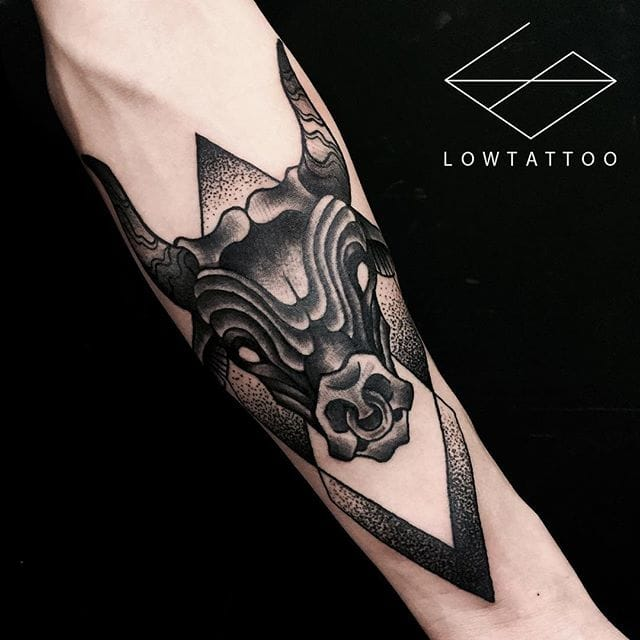 Dark cow by Low.