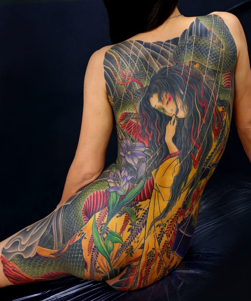 10 Beautifully Twisted Snake Lady Tattoos