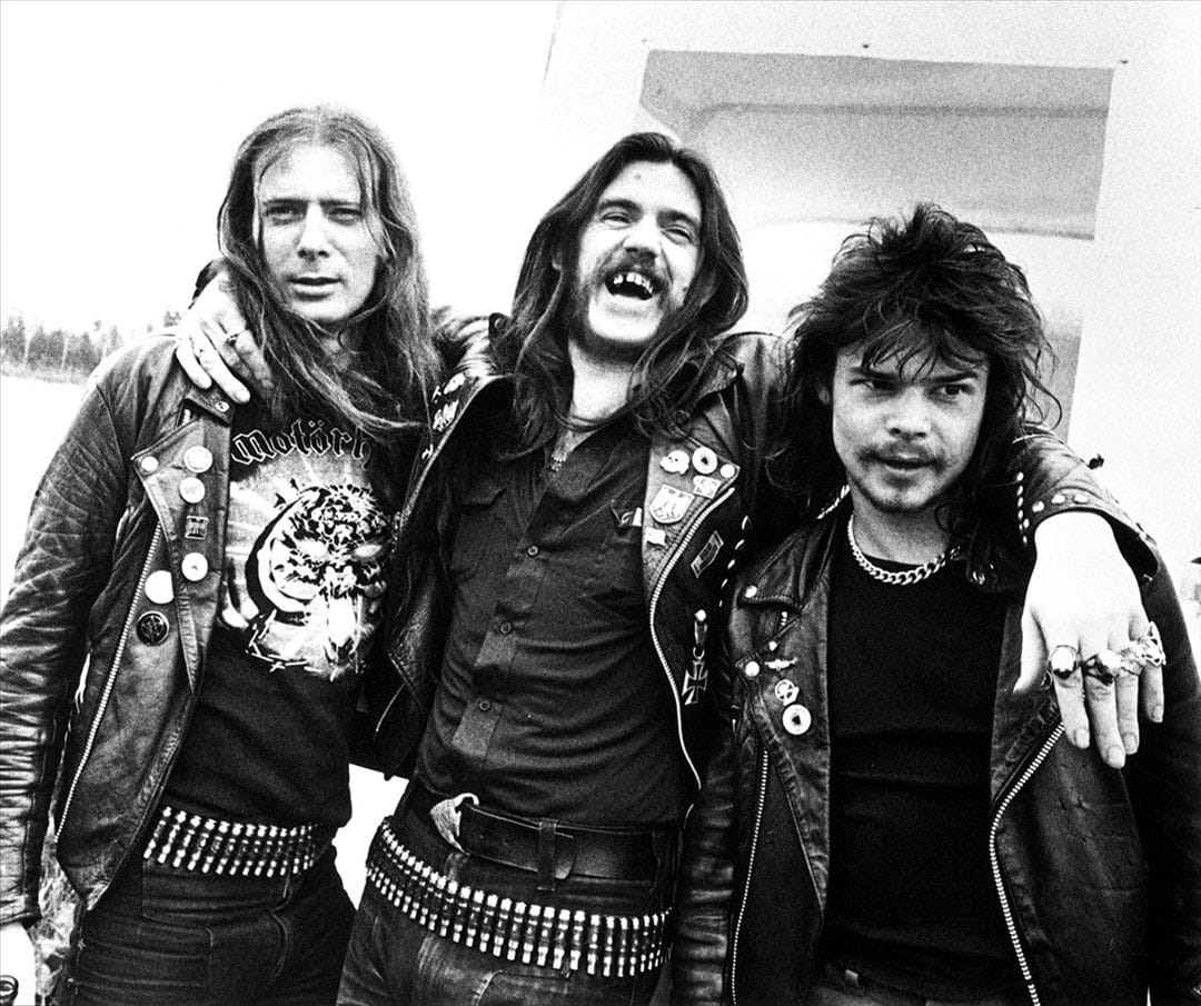 "Motorhead from left to right : ""Fast"" Eddie Clark, Lemmy Kilmister, Phil ""Philthy Animal"" Taylor"