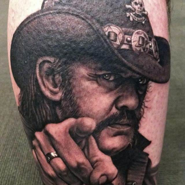 Awesome portrait tattoo by Bob Tyrell