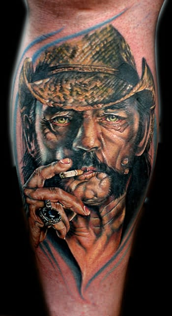 Killer colorwork tattoo from Cecil Porter of Lemmy