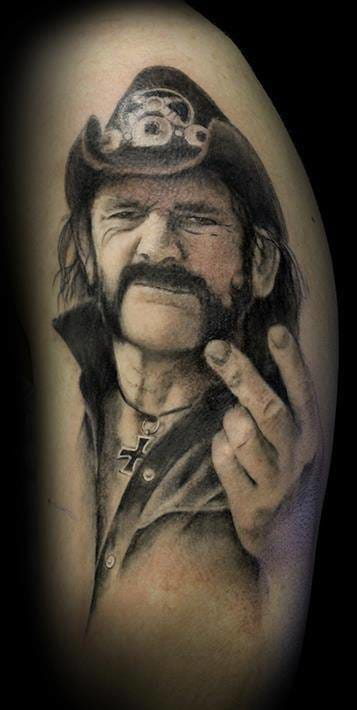 Lemmy always had the fuck you punk attitude...rock n roll will never die. Tattoo by Ravi Lass