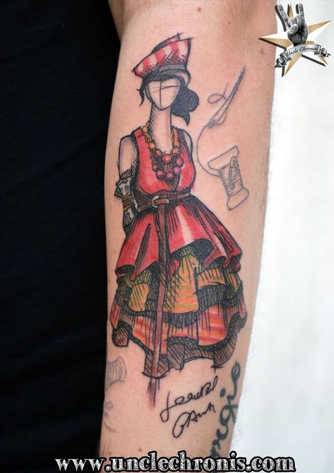 You'll be surprised to know that its history dates way back from 1350bc! Nice sketched-up style by Simoni Gruber, Uncle Chronis Tattoo.