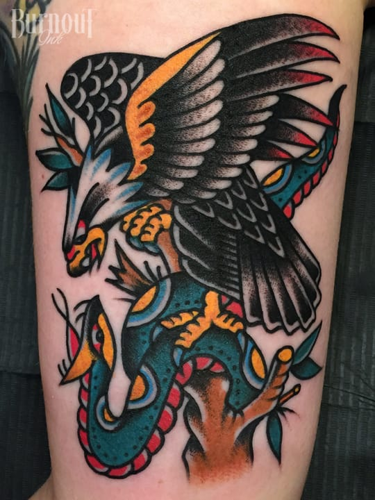 Eagle Vs Snake Tattoo by Christian Otto