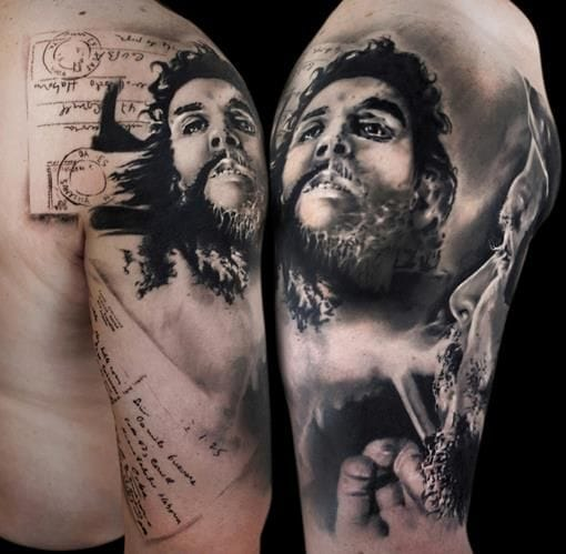 High definition realism in this black and grey Che Guevara tattoo