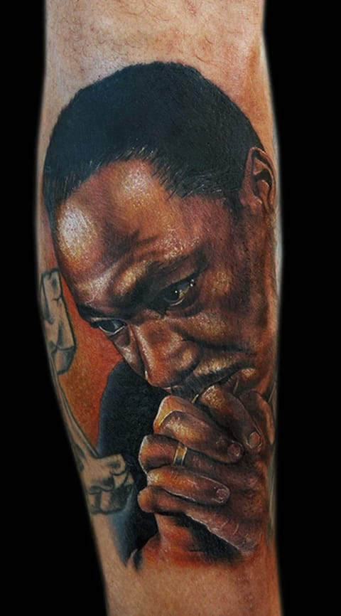 The realism in this Martin Luther King Jr. tattoo is mesmerizing