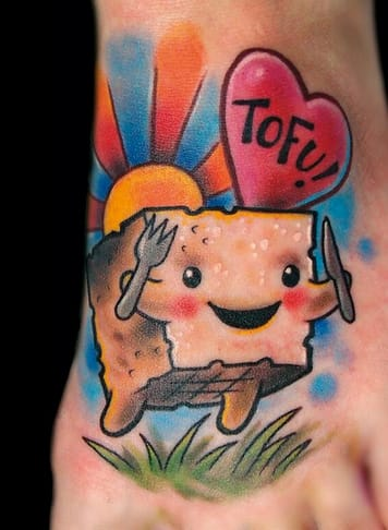 Fun and cute Tofu tattoo