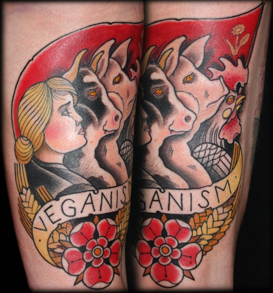 This neo-traditional Veganism tattoo reminds me of the animal uprising against the humans in George Orwell's Animal Farm. Tattoo by Adam Isaac Jackson