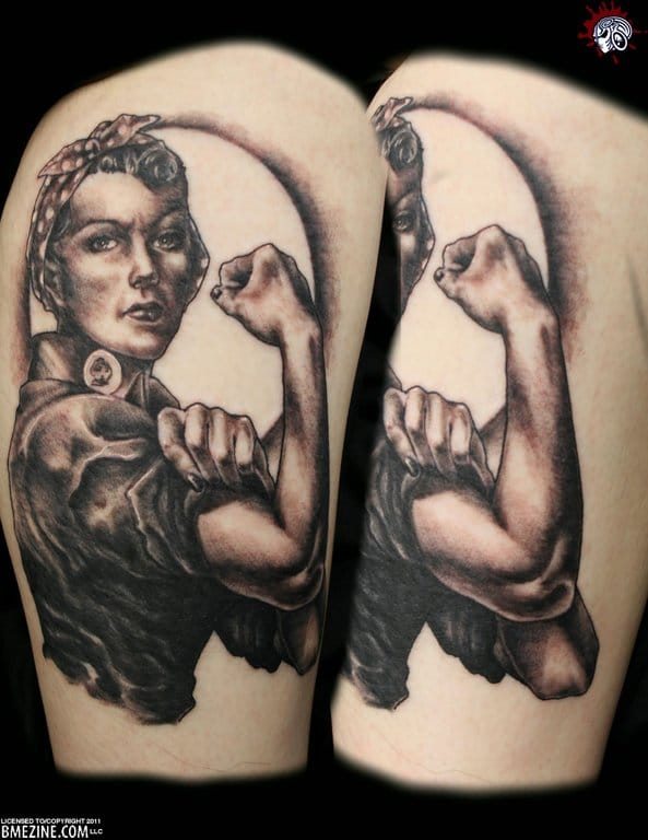 """Black and grey version of the iconic """"We can Do It"""" female worker from a 1943 wartime propaganda poster. """"Rosie the Riveter"""" has become a symbol of feminism."""