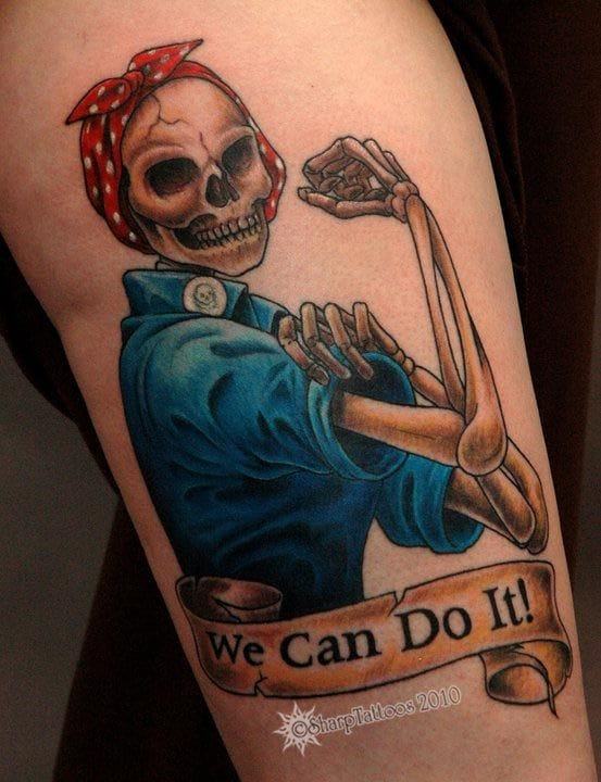 """A colorful skeleton version of """"Rosie the Riveter"""" from Sharp Tattoos"""