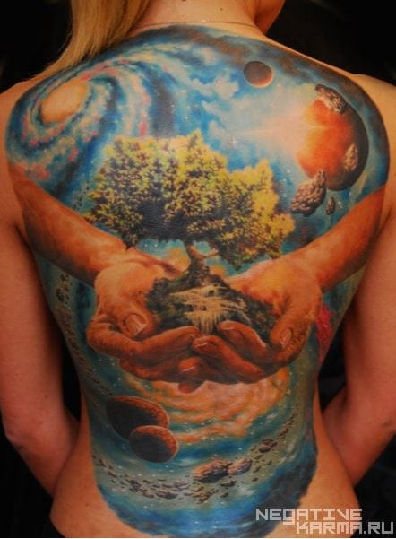 This stunning color backpiece by Den Yakolev is a beautiful depiction of Mother nature and the Universe