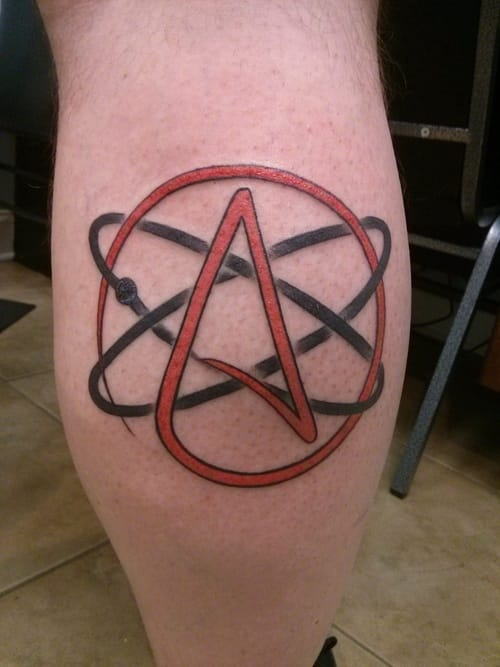 The official Atheist symbol of the atom and capital A