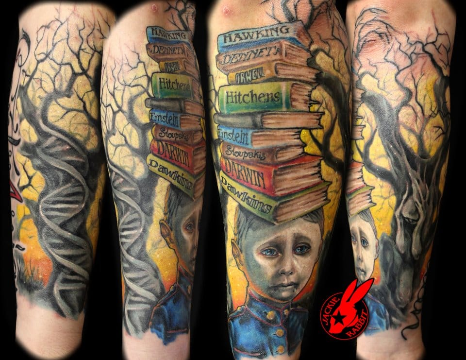 Full sleeve dedicated to some of the famous known atheists and scientists who challenged theories of our origins and existence tattoo by Jackie Rabbit