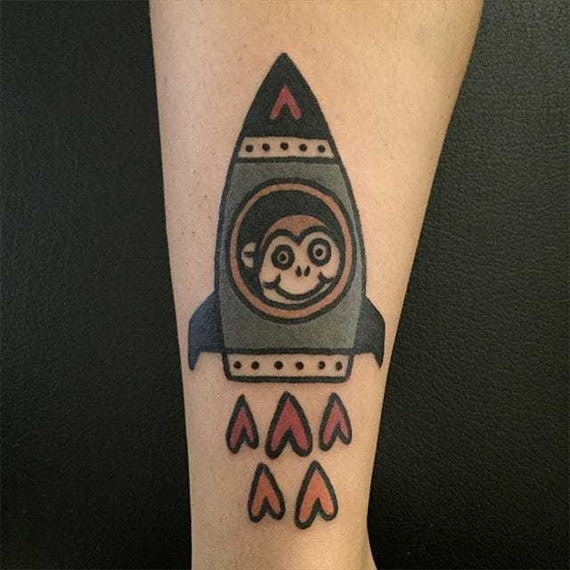 Monkey Rocket Tattoo by Panther tattoo Jiran