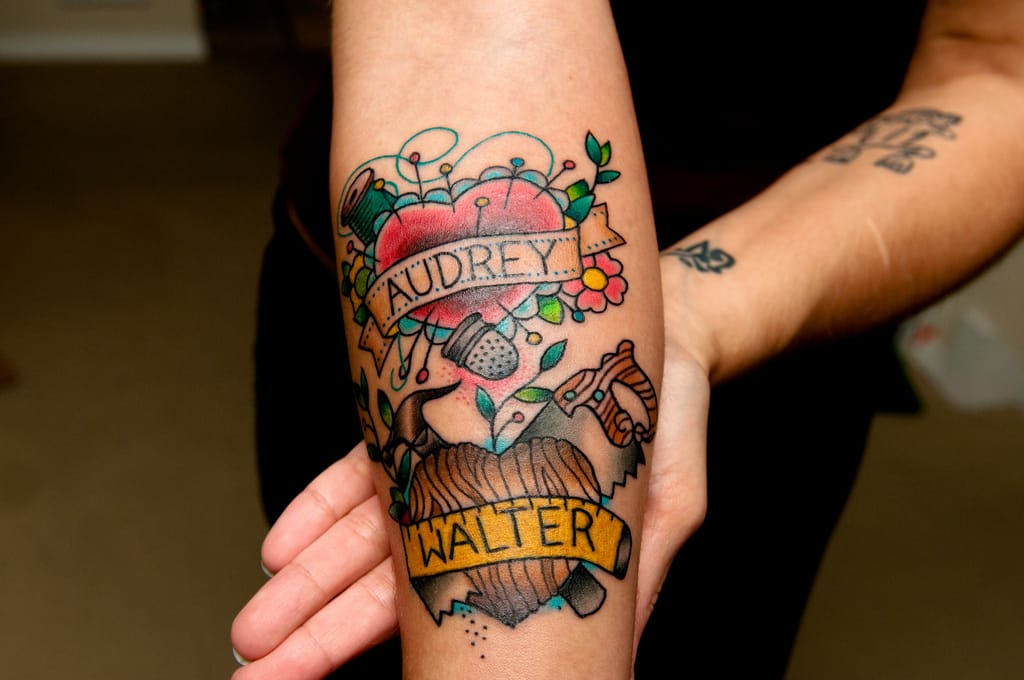 The needle & thread tattoo makes a lovely & heartwarming memorial tattoo dedicated to the women of our lives.