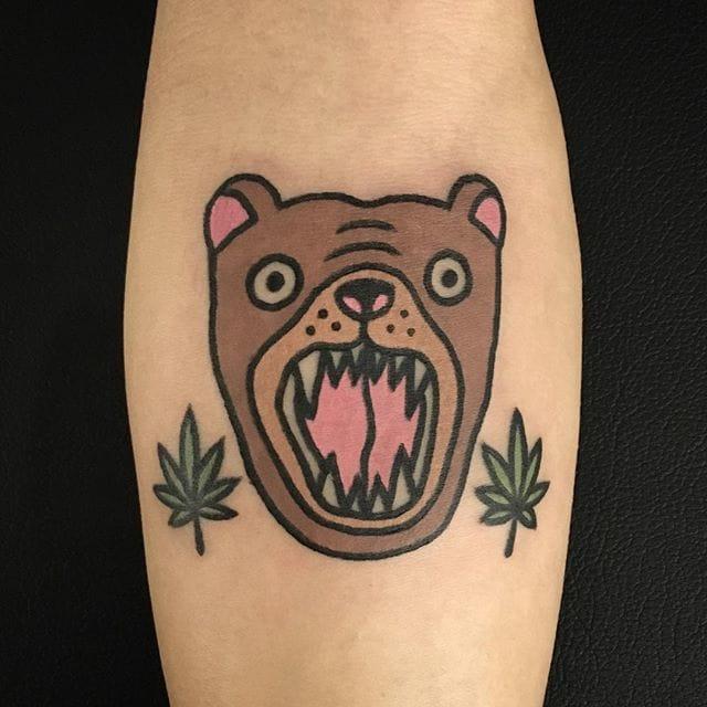Quirky bear head tattoo