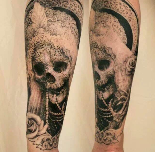 Beautiful texture on this skull fore arm tattoo.