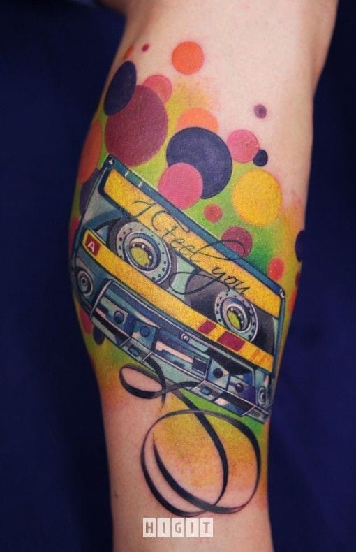 Clean work on this colored cassette tape tattoo.
