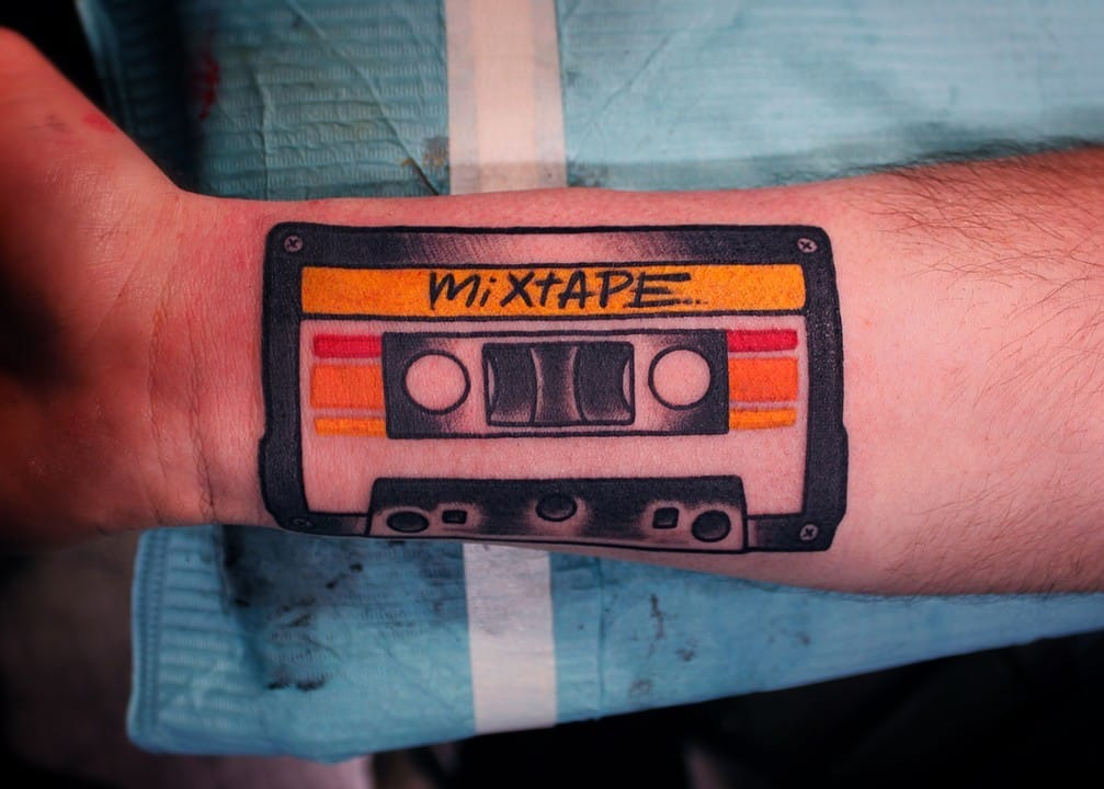 Simple yet solid looking cassette tape tattoo.