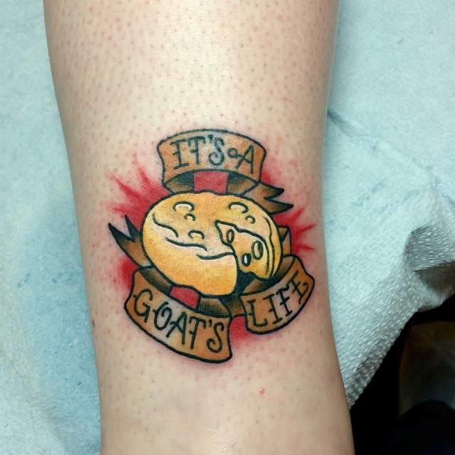 Mmmmm delicious goat's cheesy tattoo by DJ Chilcote