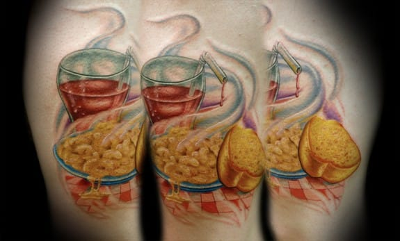 Tantalizing looking piping hot Mac N Cheese meal...mmmmm. Tattoo colaboration by Kelly Doty and Chloe Vanessa