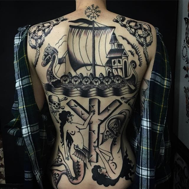 Beautiful backpiece by Sway Tattooer and Jemma Jones