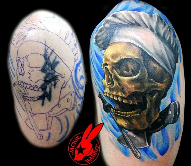 Chef skull cover up tattoo by Jackie Rabbit.