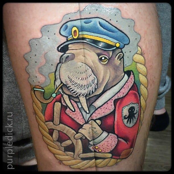 Fun Walrus Tattoo by Dmitriy Yakovlev