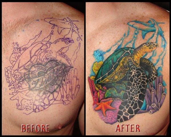 Ocean life Cover Up Tattoo
