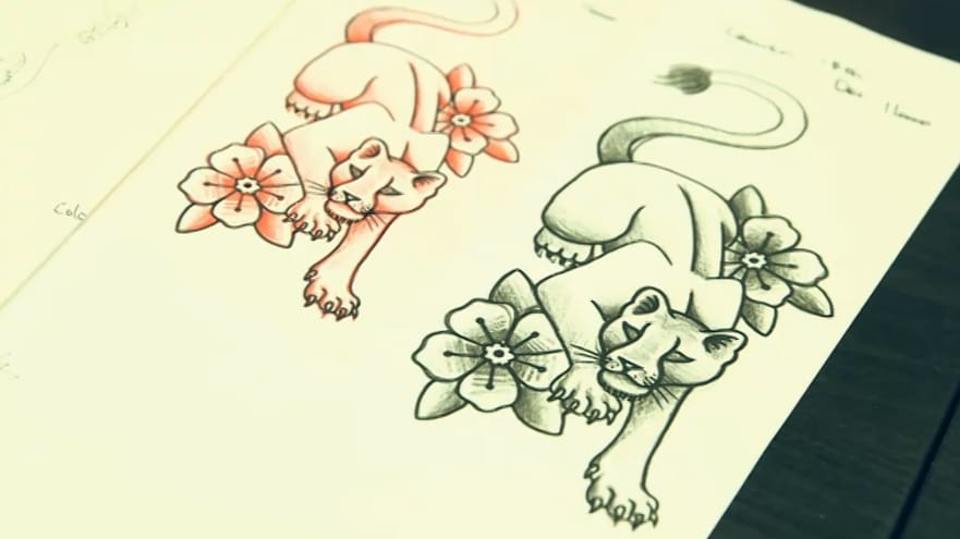 Lauren's lioness tattoo design.