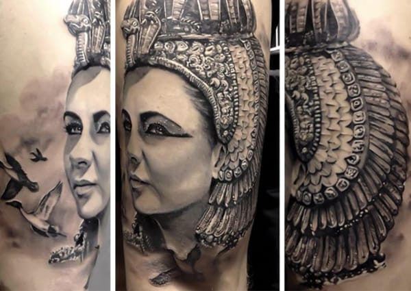 Amazing black and gray portrait tattoo.