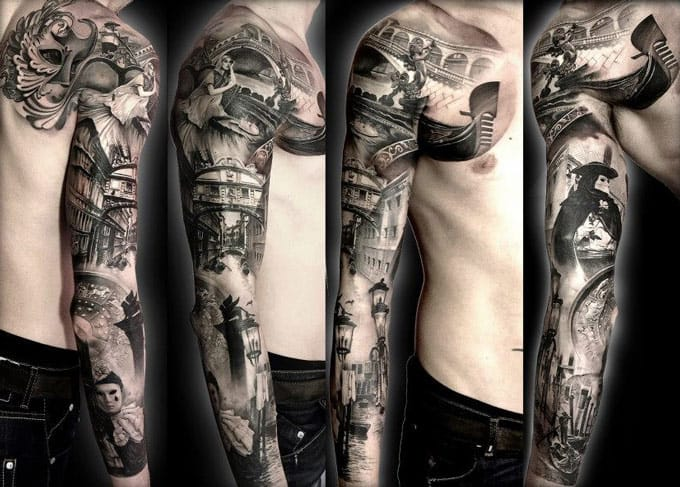 Crazy looking black and gray full sleeve.