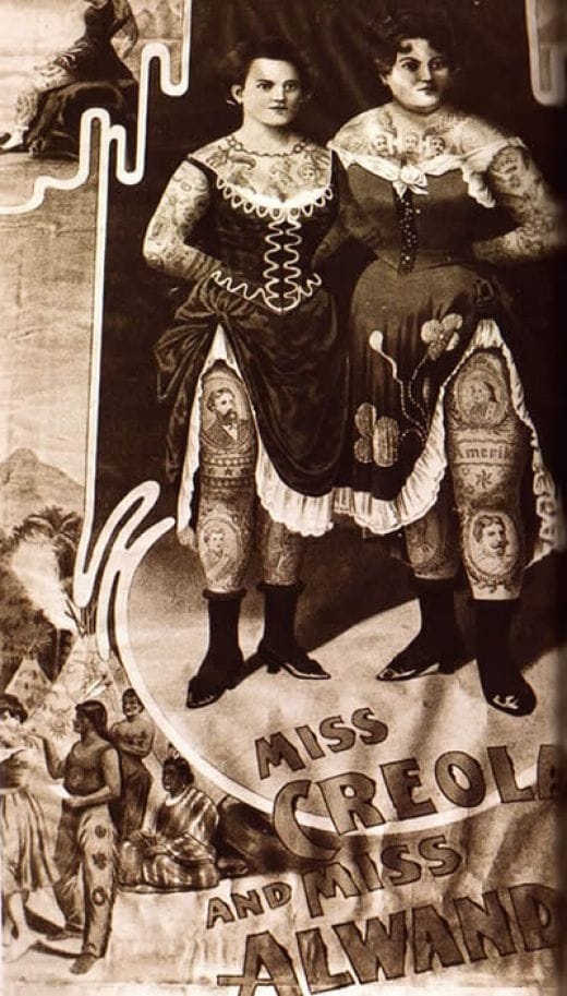 Vintage circus poster advertising Miss Creole and Miss Alwand two original tattooed ladies of the