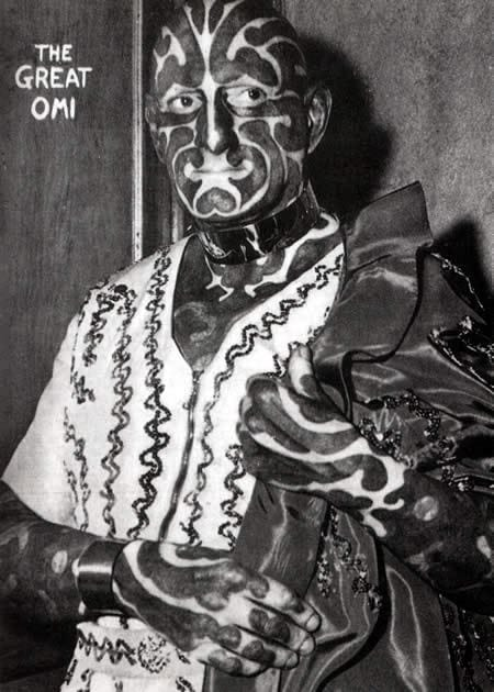 The Great Omi transformed into the zebra man and toured with famous name circuses