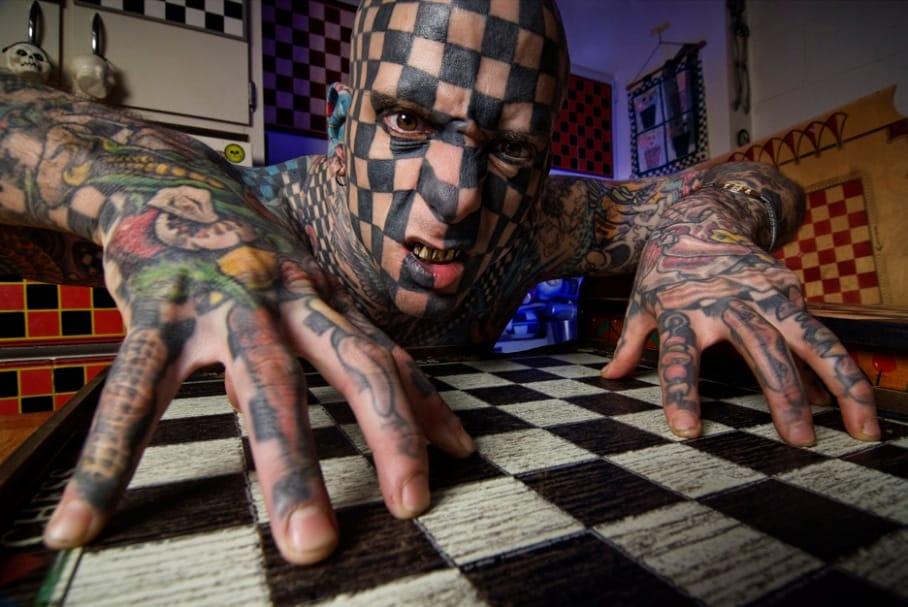 Matt Gone the human checkerboard