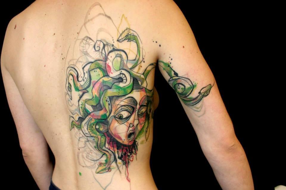 The classic villainess Medusa done sketch & watercolor style by Petra Hlaváčková
