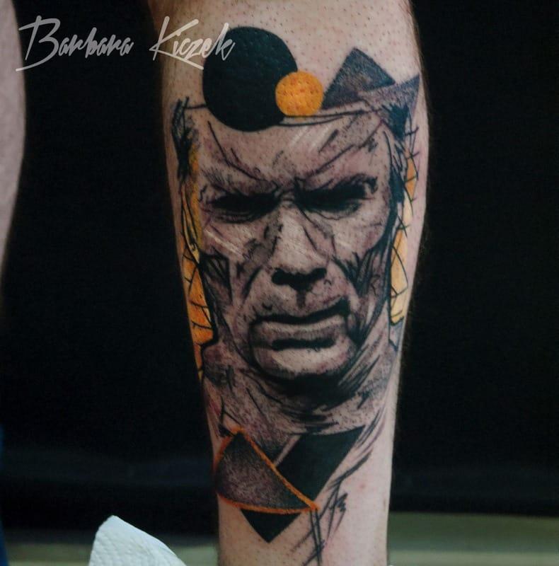 Sketch style tattoo with some poppy geometrics by Barbara Kiczek