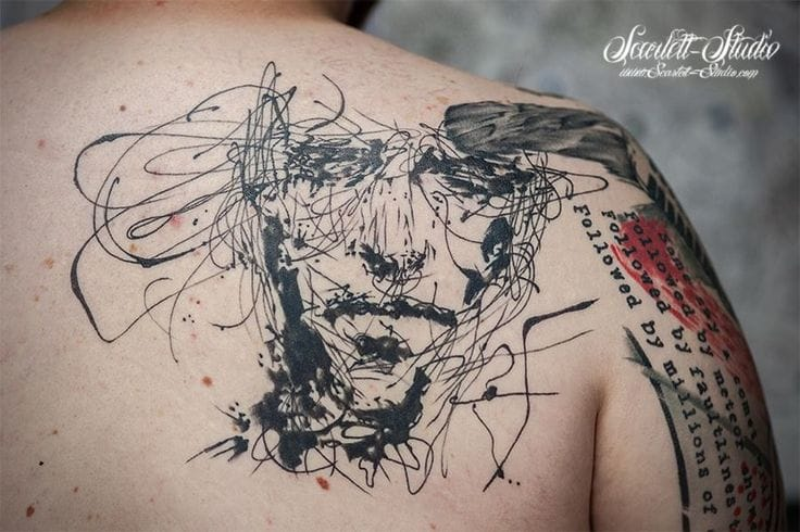 Awesome how these groovy doodles turn into an image! Cool Sketch style tattoo by Andrzej Kaczmarek