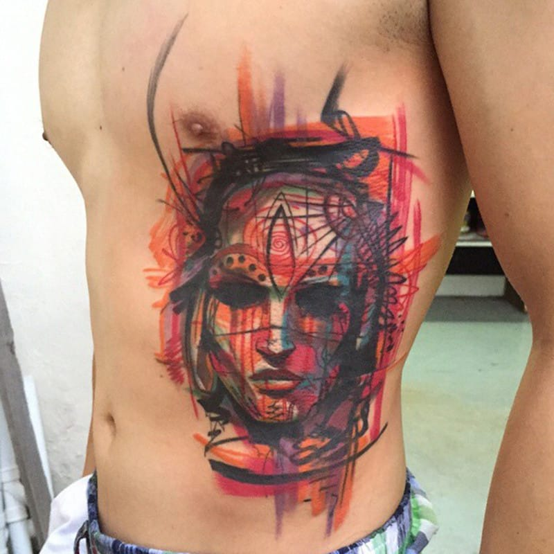 Awesome brush stroke effects on this sketch style tattoo by Ael Lim!