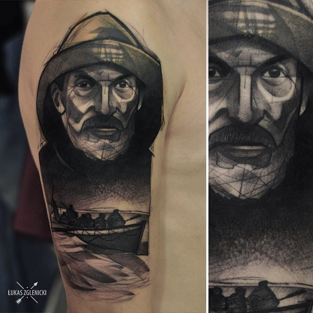 He is known for his unique sketch style tattoos that look like pencil (sometimes ink) sketches with shadings of graphite...but are really tattoos!
