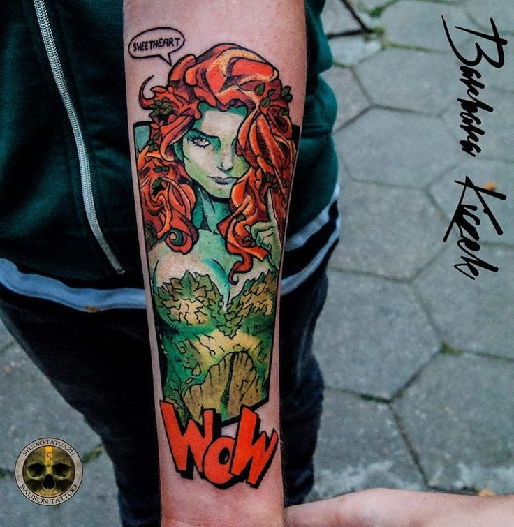 WOW, indeed! Beautiful Poison Ivy tattoo by Barbara Kiczek.