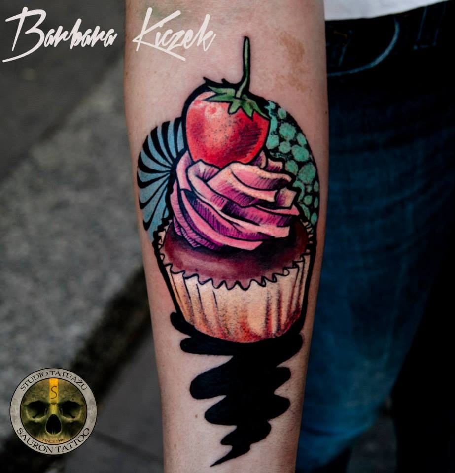 Colorful cupcake tattoo by Barbara Kiczek