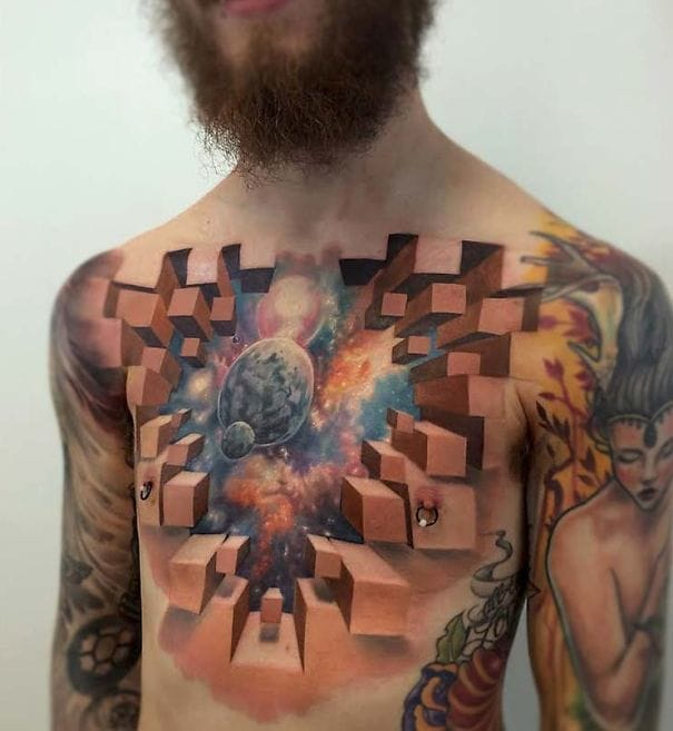 This awesome 3D cosmic tattoo is for Astronomy nerds! via @jesse_rix