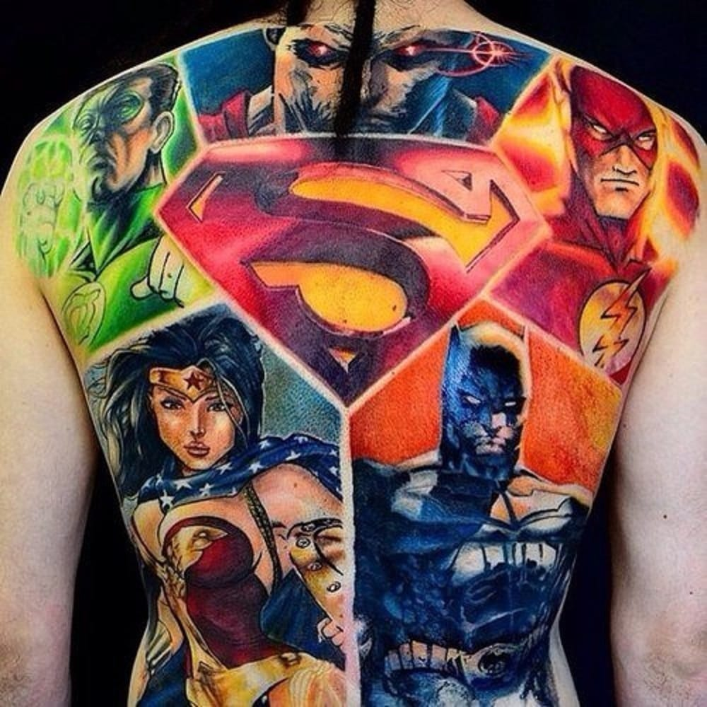 There are also comic book nerds... who own a library full of colorful graphic novels! Tattoo Artist unknown
