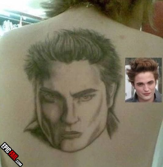 Celeb tattoos are really popular, and although he's not in music, girls never get tired of looking at Robert Pattison.. Unless you're this guys girlfriend.
