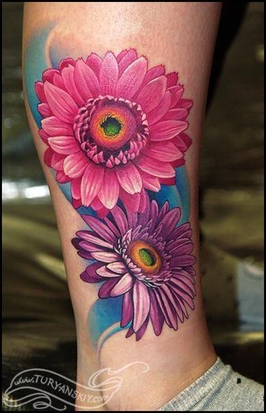 Pretty floral tattoo by Oleg Turyanskiy.