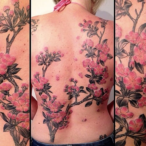 Pretty cherry blossoms tattoo by Victor J Webster
