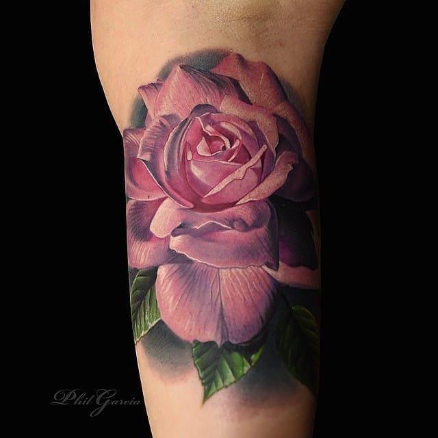 Pretty pink Rose Tattoo by Phil Garcia
